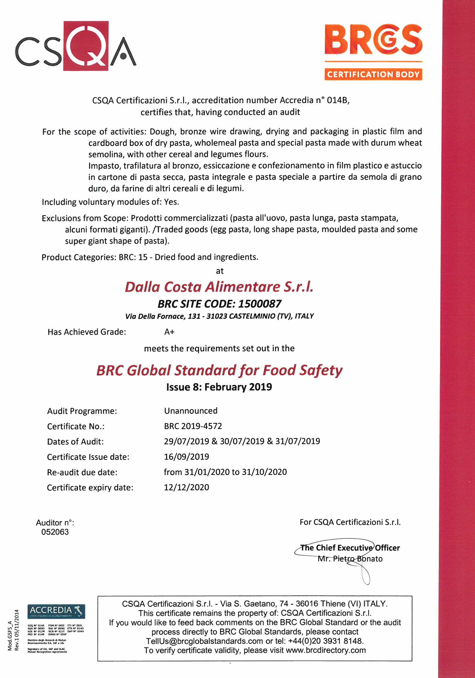 Certificazione BRC Global standard for Food Safety